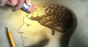 Skizze von einem Kopf bei dem das Gehirn ausradiert wird.