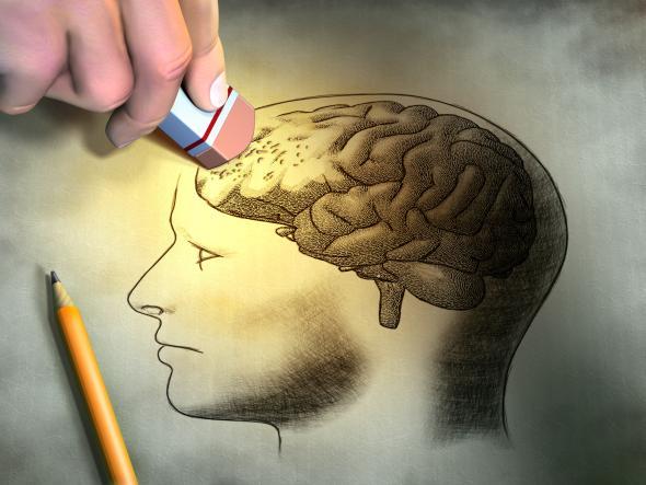 Skizze von einem Kopf - bei dem das Gehirn ausradiert wird - genau wie bei Alzheimer.