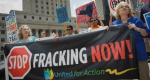 Eine Anti-Fracking-Demo in New York.