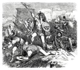 Azteken im Kampf mit spanischen Truppen - Anno 1870