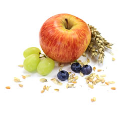 Ballaststoffe z.B. Obst und Gemüse oder Getreide