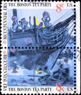 Briefmarke: Der Boston-Tea-Party zur Ehren der Unabhängigkeit