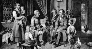 Die Brüder Grimm zu Besuch bei der Märchenerzählerin Dorothea Viehmann. Bild: