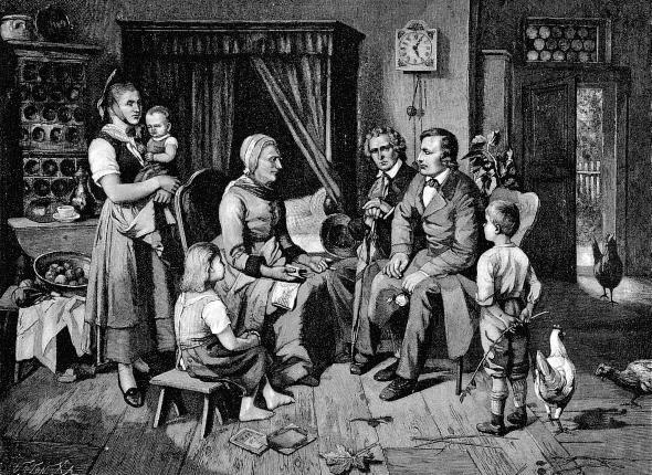 Die Brüder Grimm bei der Märchenfrau Dorothea Viehmann gemalt von L. Katzenstein.