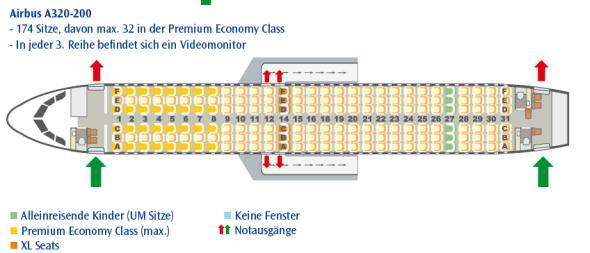 Sitzplan für einen Airbus A320.