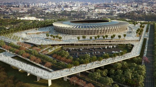 Das Stadion Belo Horizonte in Brasilien bekommt Solaranlagen auf das Dach.