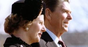 Die britische Premierministerin Margaret Thatcher mit Amtskollegen Ronald Reagan