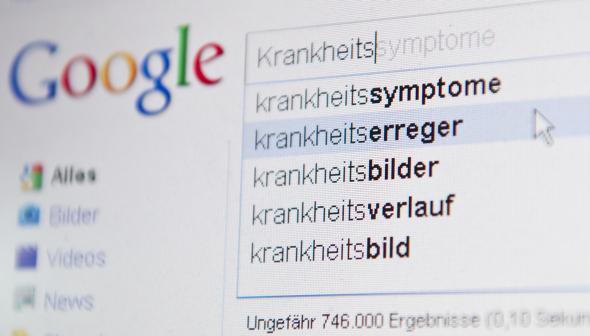 """Google Suchmaske - jemand gibt einen Suchbegriff zum Thema """"Krankheit"""" ein."""