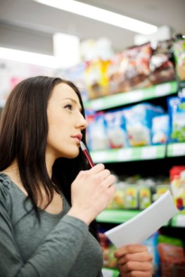 Einkaufzettel - Einkauf im Supermarkt