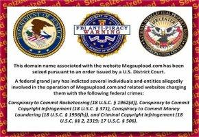 FBI Warnhinweis auf der Seite von Megaupload.com