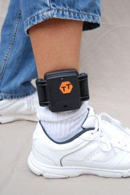 Überwachung durch Elektronik - Fußfessel am Fuß
