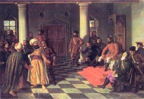 Vlad III. Drăculea empfängt türkische Gesandte - Ein Gemälde von Theodor Aman
