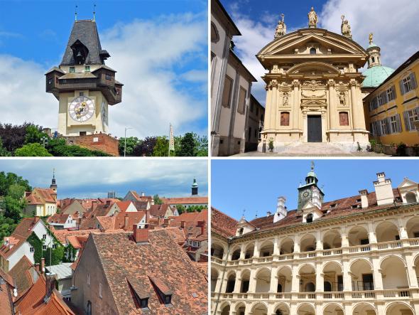Die Wahrzeichen der Stadt Graz in der Steiermark.