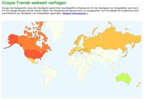 Grippe-Trends kann man bei Google weltweit verfolgen
