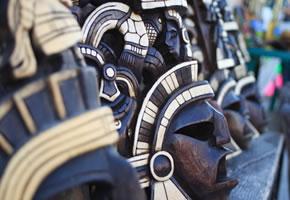 Handgeschnitzte Maya Masken
