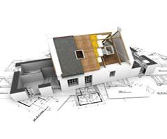 Hausmodell und Plan zum Bauen