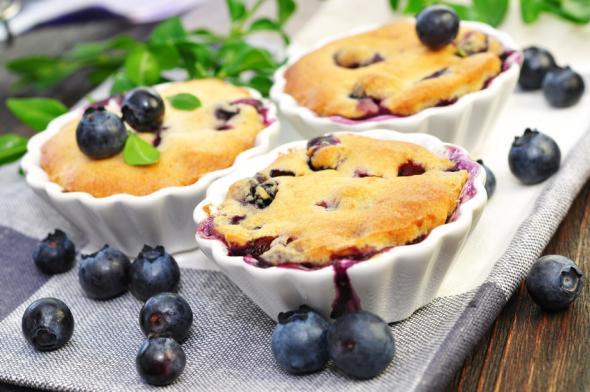 Blaubeeren-Rezeptidee: Muffins mit köstlichen Heidelbeeren.