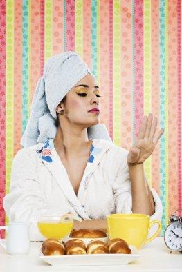Heiligenschein-Effekt - eine Diva beim Frühstück