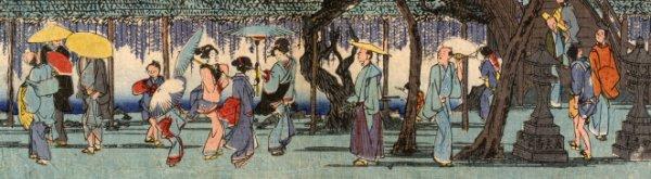 Japanische Straßenszene in der Edo-Periode um 1850