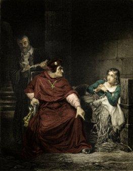 Jeanne d'Arc im Gefängnis - in ihrer Gefängniszelle wird sie vom Kardinal von Winchester verhört
