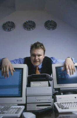 Kim Schmitz in seinem Loft (1996) bei München