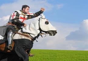 Kreuzritter auf dem Pferd