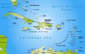 Dominikanische Republik auf der Landkarte.