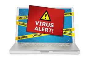 Laptop mit einem Computervirus
