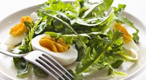 Löwenzahn Salat mit Eiern