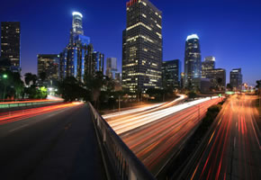 Los Angeles: Skyline am Abend
