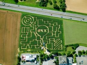 Luftaufnahme von Maislabyrinth in Seligweiler