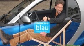"Kampagne ""Tübingen macht blau"" - Boris Palmer unterwegs im Smart Micro-Hybrid-Drive"