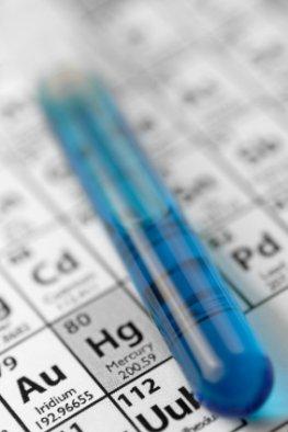 Periodensystem mit dem Element Quecksilber