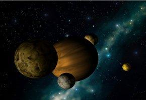 Planet mit Monden