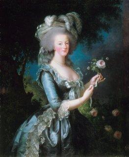 Porträt von Marie Antoinette mit einer Rose, gemalt von ihrer Lieblingskünstlerin Élisabeth Vigée-Lebrun, 1783, Öl auf Leinwand, Schloss von Versailles
