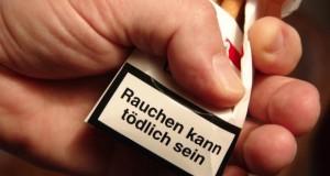 Aufdruck Zigarettenschachtel: Rauchen kann tödlich sein.