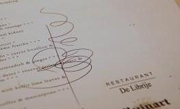 Menükarte mit Autogramm von Jonnie Boer