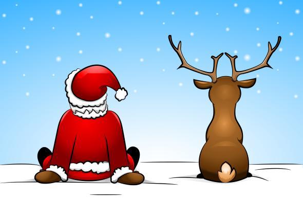 Santa Claus und Rentier Rudolph schauen wie es schneit