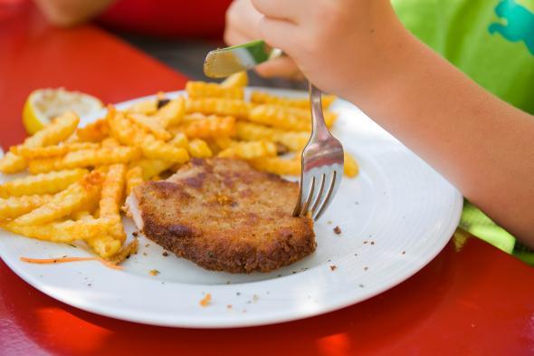 Ein Kind isst ein Schnitzel mit Pommes Frites