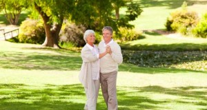 Senioren Pärchen tanzt auf einer Wiese.