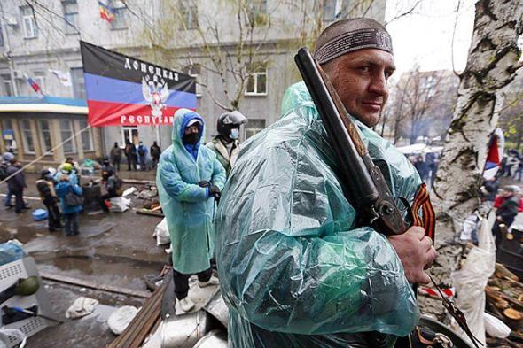 Separatisten in Slawjansk Ostukraine.