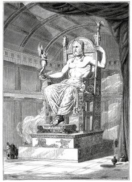 Olympische Spiele der Antike - Statue von Zeus auf Olympia