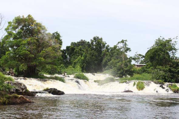 Wasserfall und wasserlauf