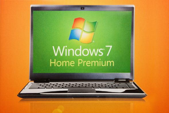 Microsoft Windows 7 auf einem Laptop.