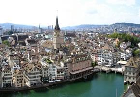 Ein Blick auf die Altstadt von Zürich